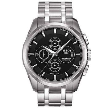 TISSOT T-CLASSIC系列三眼計時腕錶-黑-43mm/T0356271105100
