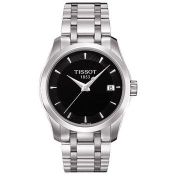 TISSOT Couturier建構師系列時尚優雅女性腕錶-黑-32mm/T0352101105100