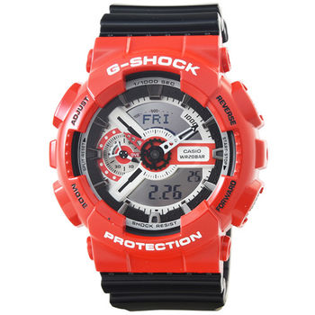 CASIO 卡西歐G-SHOCK 雙顯鬧鈴電子錶-黑紅 / GA-110RD-4A