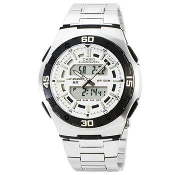 CASIO 日系卡西歐雙顯多時區電子鋼帶錶-白 / AQ-164WD-7A (原廠公司貨)