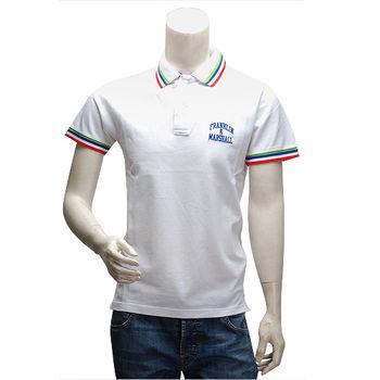 FM 刺繡LOGO純棉紅藍綠織邊立領短袖POLO衫(白)