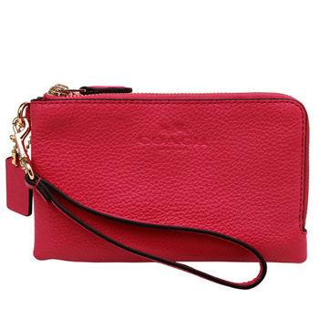 COACH  2016春夏新款粉桃色皮革雙層手拿包