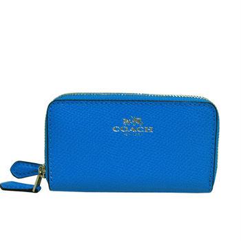 COACH  經典燙金LOGO雙層拉鍊卡夾零錢包(藍色)