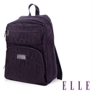 【ELLE】優雅淑女皺褶機能後背包14吋筆電扣層防潑水設計款(紫 EL83830-24)