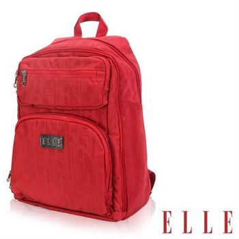 【ELLE】優雅淑女皺褶機能後背包14吋筆電扣層防潑水設計款(紅EL83830-01)