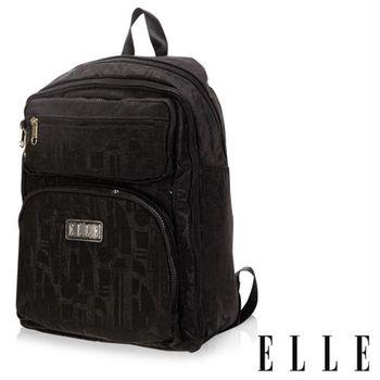 【ELLE】優雅淑女皺褶機能後背包14吋筆電扣層防潑水設計款(黑 EL83830-02)