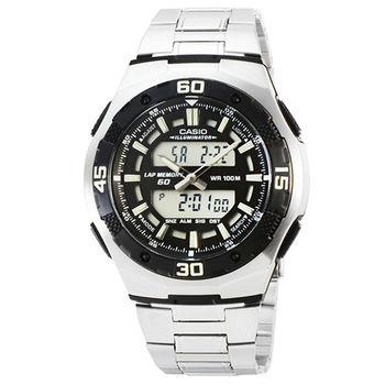 CASIO 日系卡西歐雙顯多時區電子鋼帶錶-黑 / AQ-164WD-1A (原廠公司貨)