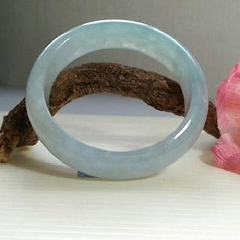 【緻麗珠寶】緻麗美鐲冰種系列冰種起膠果凍綠骨冰扁玉鐲-2(手圍18.5-19)