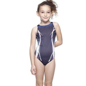 【SAIN SOU】競賽/泳隊女童連身三角泳裝附泳帽A87408-02