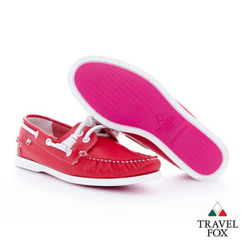 Travel Fox(女)粉粉的馬卡龍帆船鞋 - 莓紅