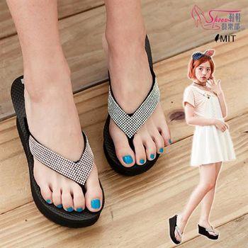 【ShoesClub】【029-6343】台灣製MIT 閃耀華麗水鑽 人字夾腳楔型厚底拖鞋.黑色