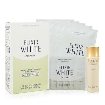 【SHISEIDO 資生堂】淨白肌密 速效面膜 (盒裝六片) 加 美白化妝水 20ml
