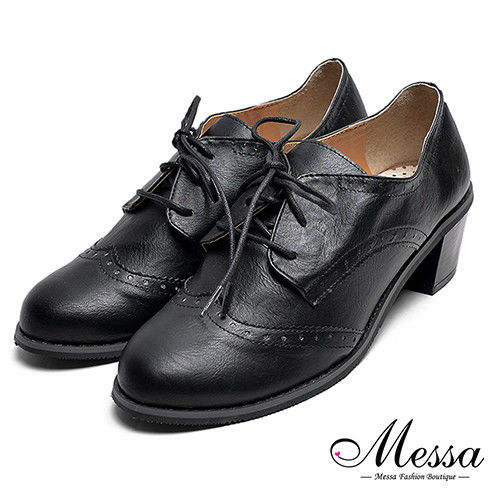 【Messa米莎專櫃女鞋】MIT簡約雕花內真皮牛津鞋-黑色