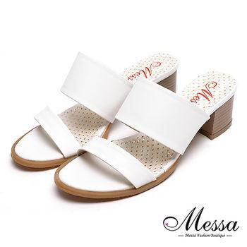 【Messa米莎專櫃女鞋】MIT韓風簡約氣質雙帶高跟涼拖鞋-白色
