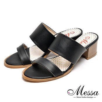 【Messa米莎專櫃女鞋】MIT韓風簡約氣質雙帶高跟涼拖鞋-黑色