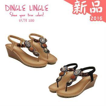 Dingle ~民族風串珠厚底楔型夾腳涼鞋*2色(黑/杏色)