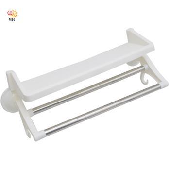 月陽雙桿加壓真空吸盤式置物架掛物架毛巾架(6191)