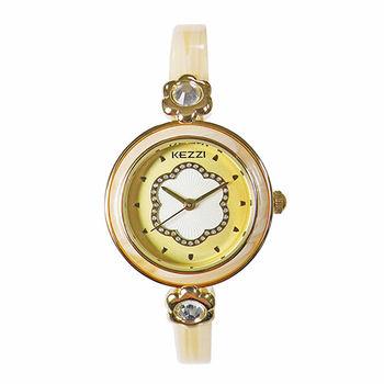 【KEZZI】俏麗佳人細款時尚腕錶(優雅黃)