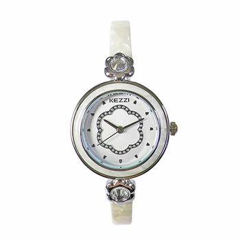 【KEZZI】俏麗佳人細款時尚腕錶(貴氣白)