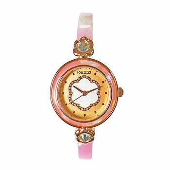 【KEZZI】俏麗佳人細款時尚腕錶(櫻花粉)
