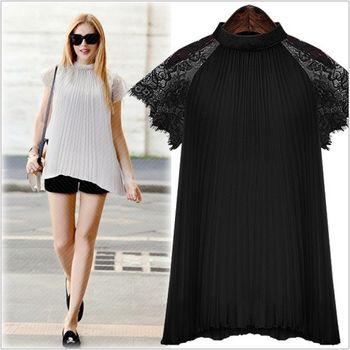 (現貨+預購 RN-girls)-歐美夏季新款立領寬鬆蕾絲拼接雪紡上衣