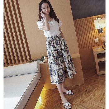 (現貨+預購 RN-girls)-韓國夏季新品純色上衣+復古寬鬆印花裙套裝