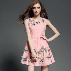(現貨+預購RN-girls)-歐美夏季新款圓領無袖立體蝴蝶修身顯瘦連身裙