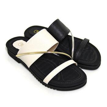 【Pretty】時尚一字寬帶平底拖鞋-米色、黑色