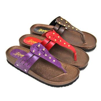 【Pretty】休閒鉚釘T字厚底夾腳拖鞋-紅色、紫色、咖啡