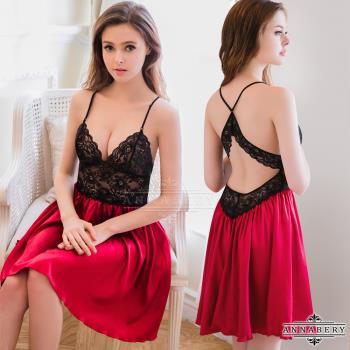 大尺碼Annabery黑紅裸背緞面禮服式睡衣