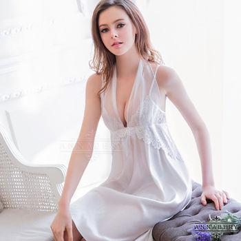 大尺碼Annabery純白緞面兩穿禮服式睡衣