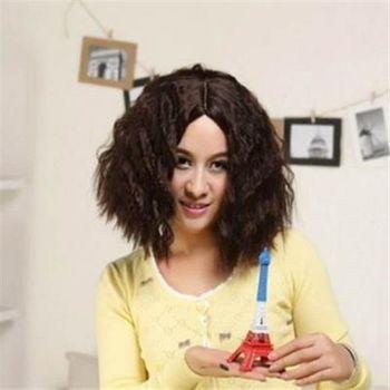 【米蘭精品】中長假髮整頂假髮時尚經典中分玉米燙