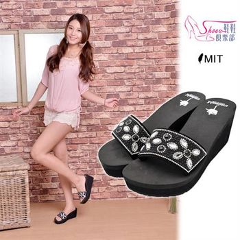 【ShoesClub】【029-6337】台灣製MIT 閃耀水鑽寶石寬版一字厚底楔型拖鞋.黑色