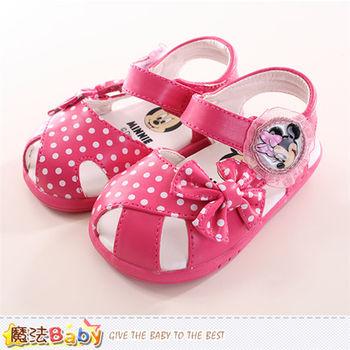 魔法Baby 寶寶鞋 迪士尼米妮正版寶寶涼鞋~sh9846