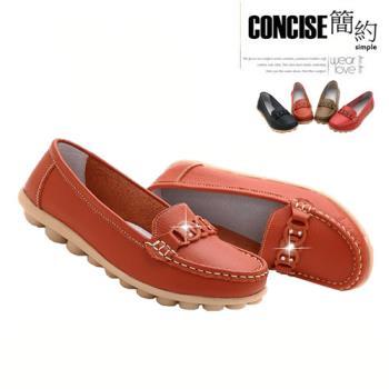 【JAR嚴選】CONCISE 簡約韓系 真皮透氣 防滑軟底豆豆鞋