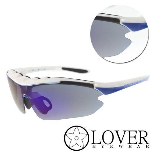 【Lover】偏光藍白膠框太陽運動護目鏡(AT9124-白藍)