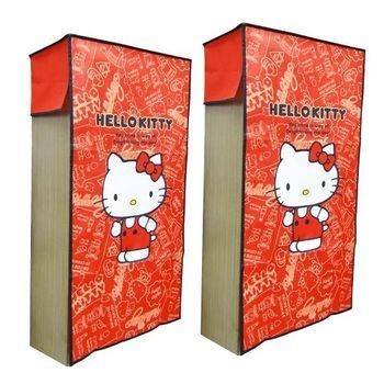 Hello Kitty三格櫃紅色防塵套-二入組