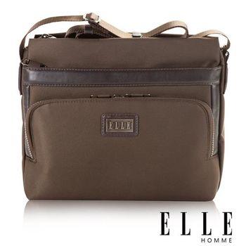 【ELLE HOMME】iPad/10吋層方長型設計 休閒側背包(咖啡 EL83385-45)