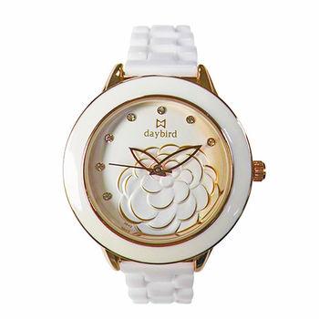 【DAYBIRD】經典山茶花璀璨晶鑽腕錶(典雅金)