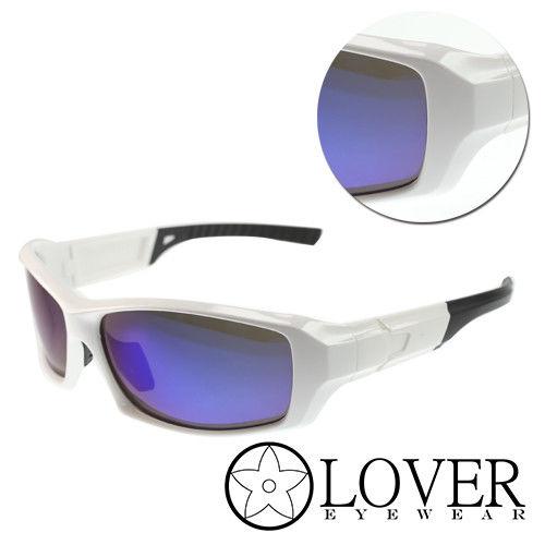 【Lover】偏光粗框白黑太陽運動護目鏡(AT9393-白黑)