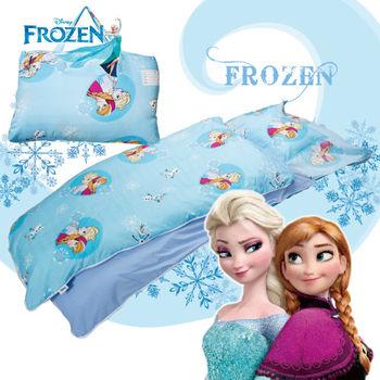 冰雪奇緣 雪花飄飄 藍 兒童睡袋 標準