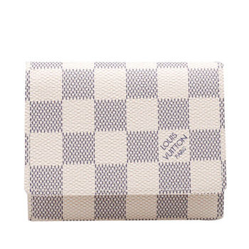 LV N61746 經典Damier棋盤格掀蓋名片夾(白)