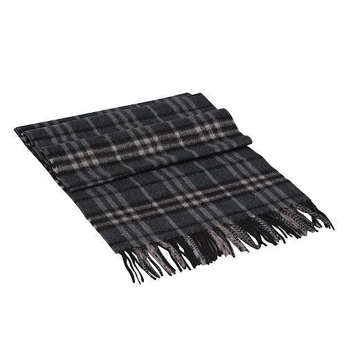 BURBERRY 經典細格紋喀什米爾羊毛圍巾(深灰色)