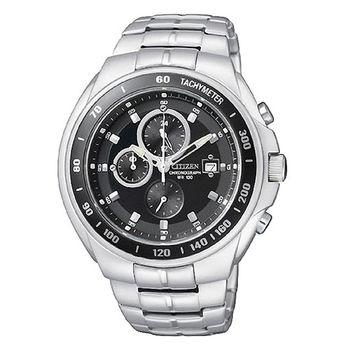 CITIZEN 追擊指令三眼計時腕錶-黑/40mm/AN4010-57E