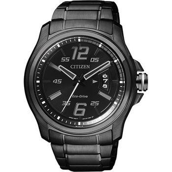 CITIZEN Eco-Drive 光動能鋼鐵競速運動風格腕錶-黑/42mm/AW1354-58E