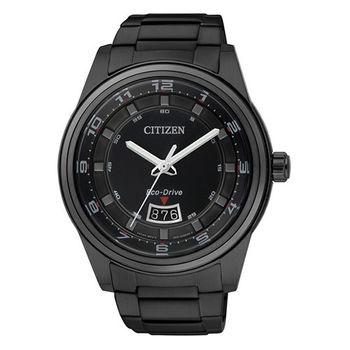 CITIZEN Eco-Drive 都會經典光動能腕錶(IP黑/43mm) AW1284-51E