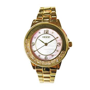【KEZZI】璀璨鏤空流沙晶鑽金屬質感腕錶(奢華金色)