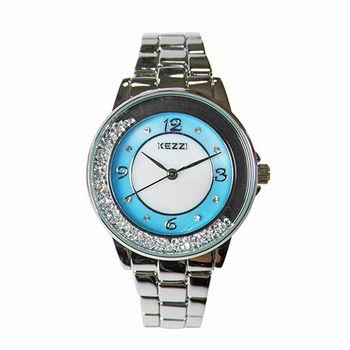 【KEZZI】璀璨鏤空流沙晶鑽金屬質感腕錶