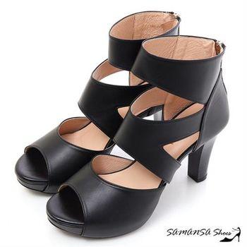 莎曼莎手工鞋【MIT全真皮】完美修長美腿-真皮羅馬靴 【SAMANSA】#15119 時尚黑