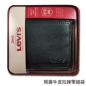 Levis 男皮夾 拉鍊零錢袋【美國進口現貨】Levis 軟牛皮 雙折短夾 經典鐵盒裝/黑色